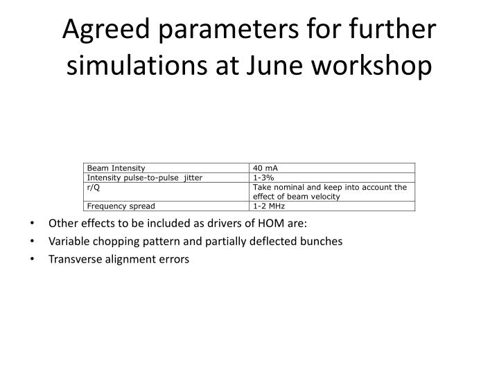 Agreed parameters for further simulations at June workshop