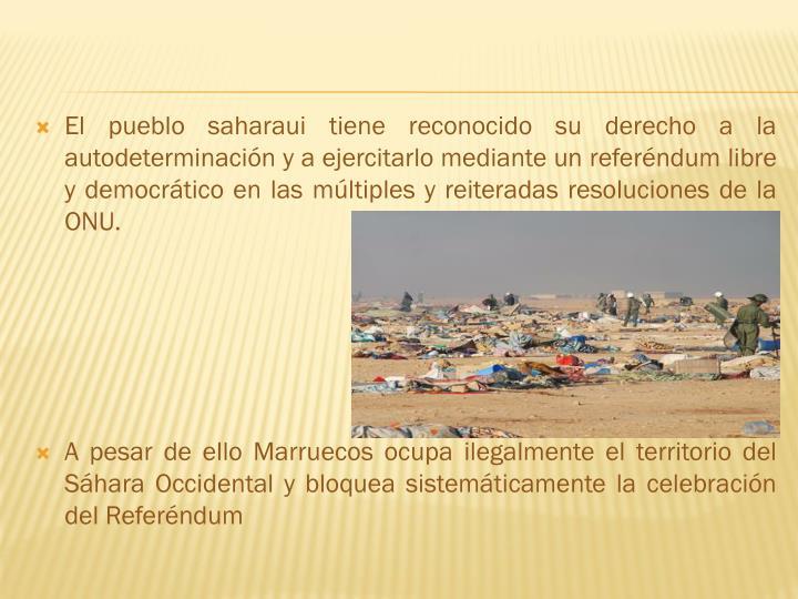El pueblo saharaui tiene reconocido su derecho a la autodeterminación y a ejercitarlo mediante un referéndum libre y democrático en las múltiples y reiteradas resoluciones de la ONU.