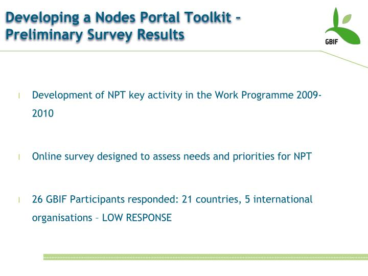 Developing a Nodes Portal Toolkit – Preliminary Survey Results