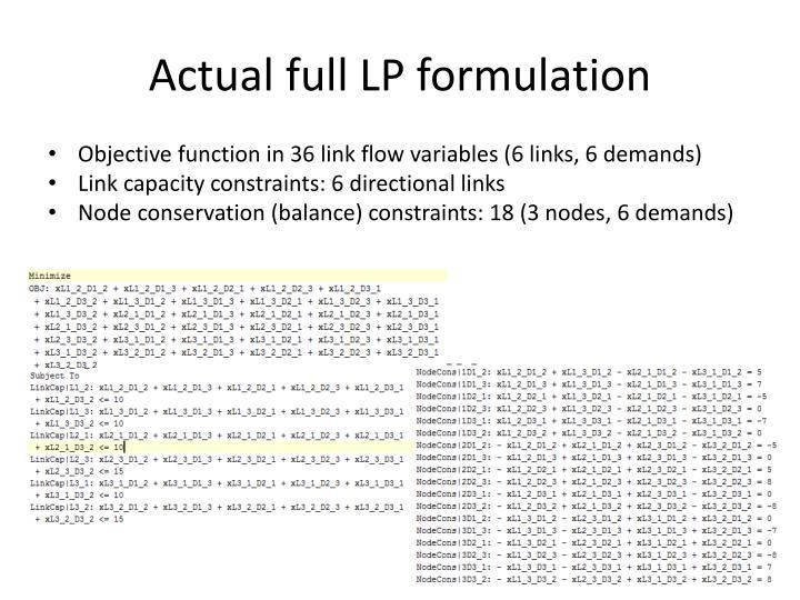 Actual full LP formulation