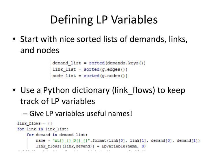Defining LP Variables