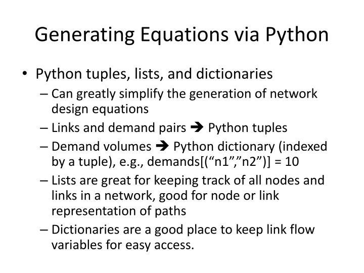 Generating Equations via Python