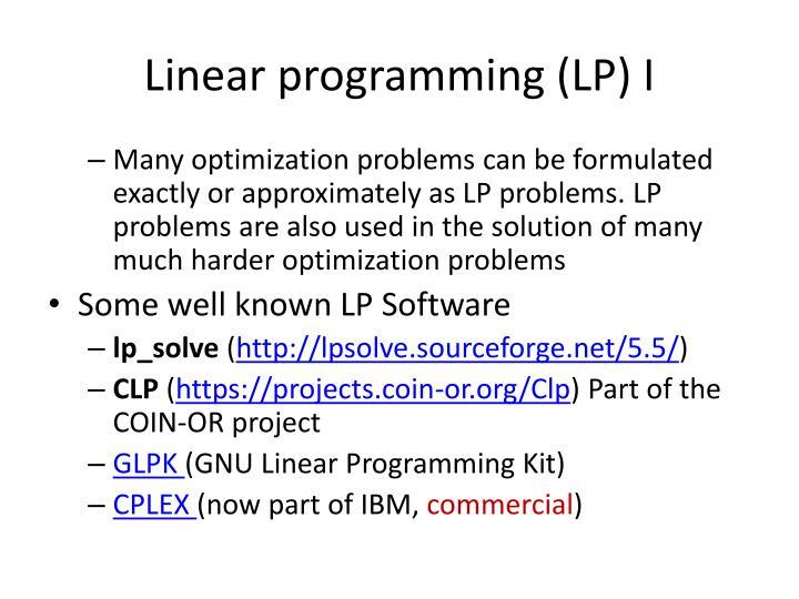 Linear programming (LP) I