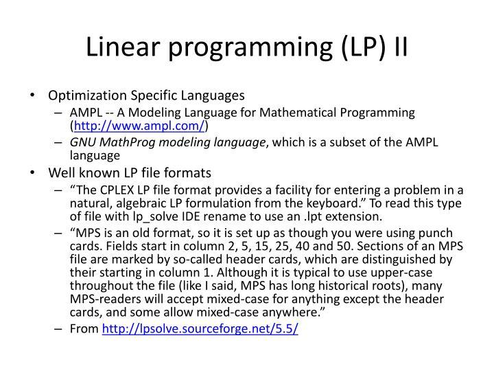 Linear programming (LP) II