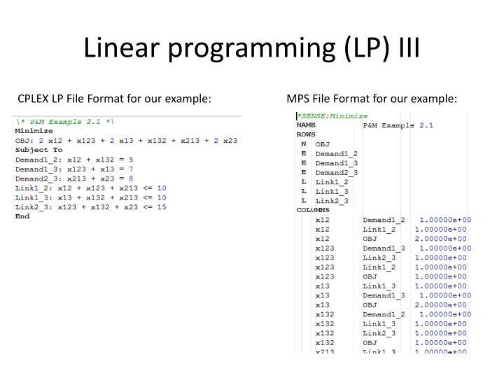 Linear programming (LP) III