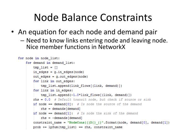 Node Balance Constraints