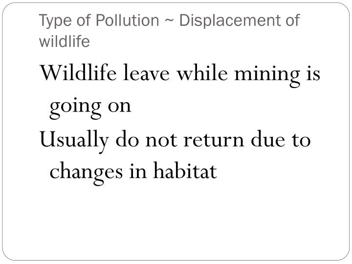 Type of Pollution ~ Displacement of wildlife