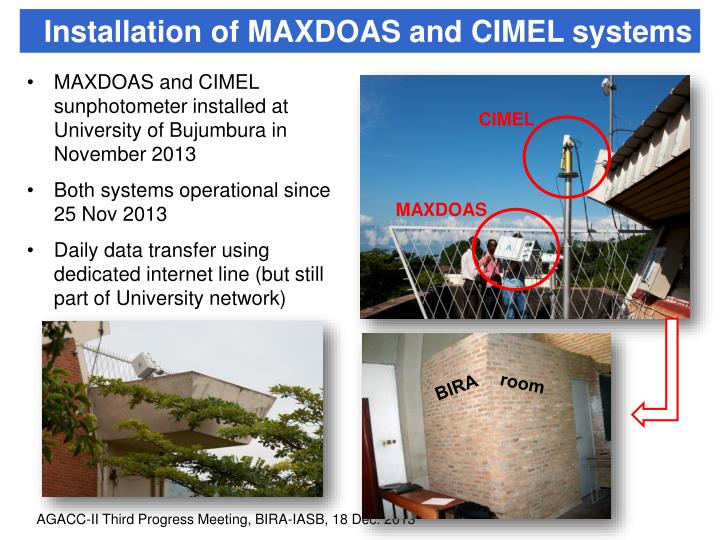 Installation of MAXDOAS and CIMEL