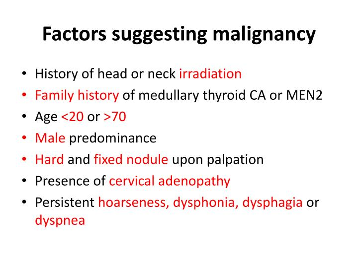 Factors suggesting malignancy