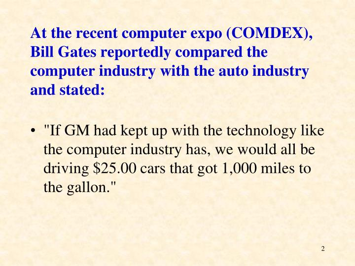 At the recent computer expo (COMDEX), Bill Gates reportedly compared the computer industry with the ...