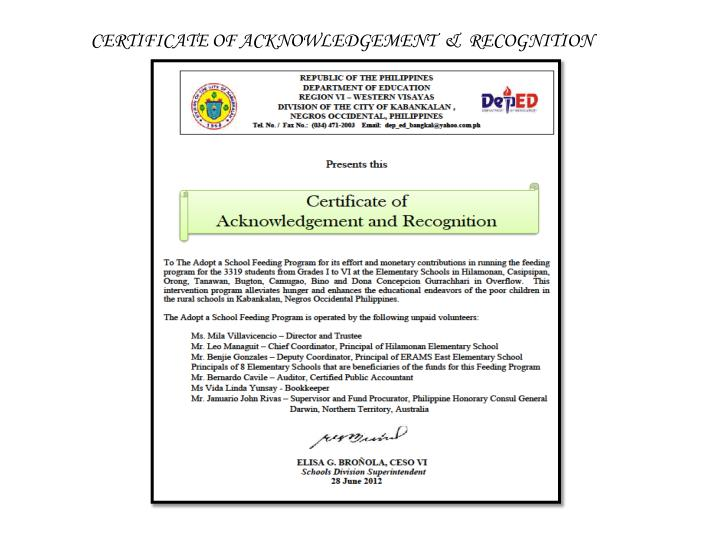 CERTIFICATE OF ACKNOWLEDGEMENT  &  RECOGNITION
