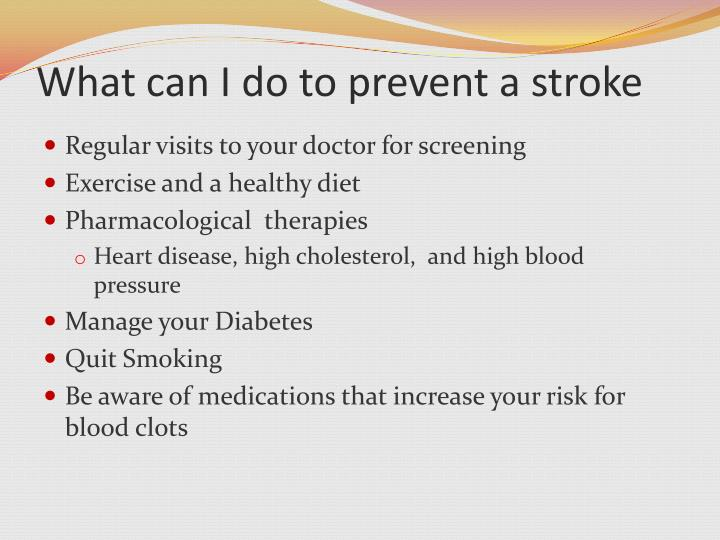 What can I do to prevent a stroke