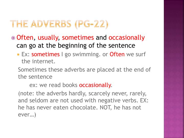 The adverbs (pg-22)
