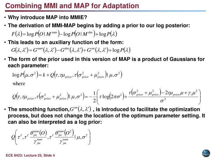 Combining MMI and MAP for Adaptation