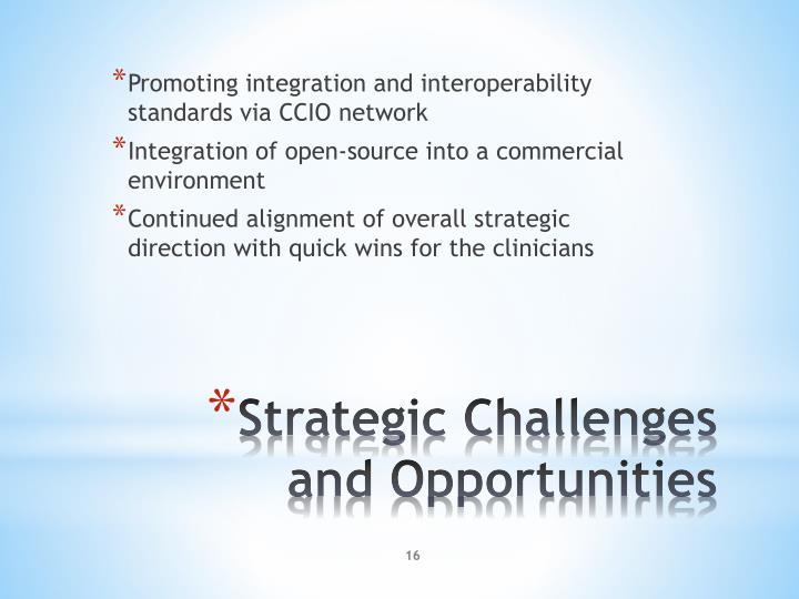 Promoting integration and interoperability standards via CCIO network