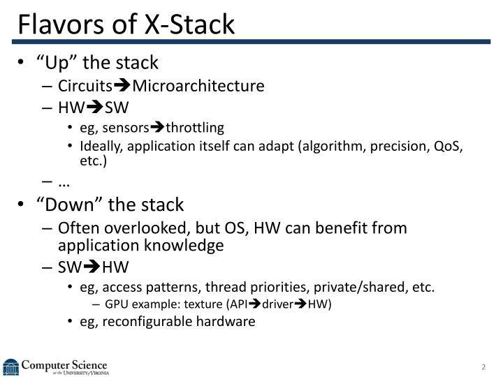 Flavors of x stack