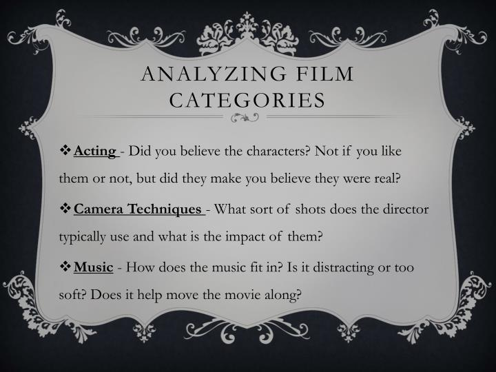 Analyzing film categories