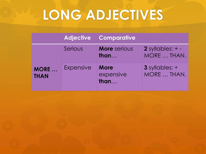 LONG ADJECTIVES