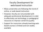 faculty development for web based instruction