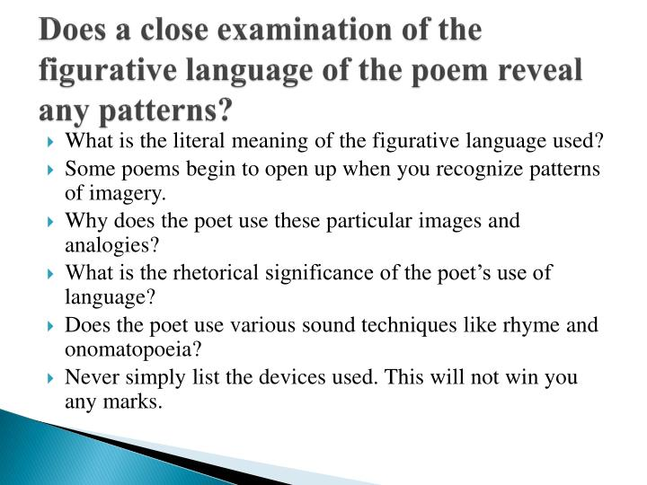 Does a close examination of the figurative language of the poem reveal any patterns?
