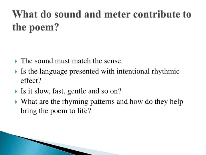 What do sound and meter contribute to the poem?
