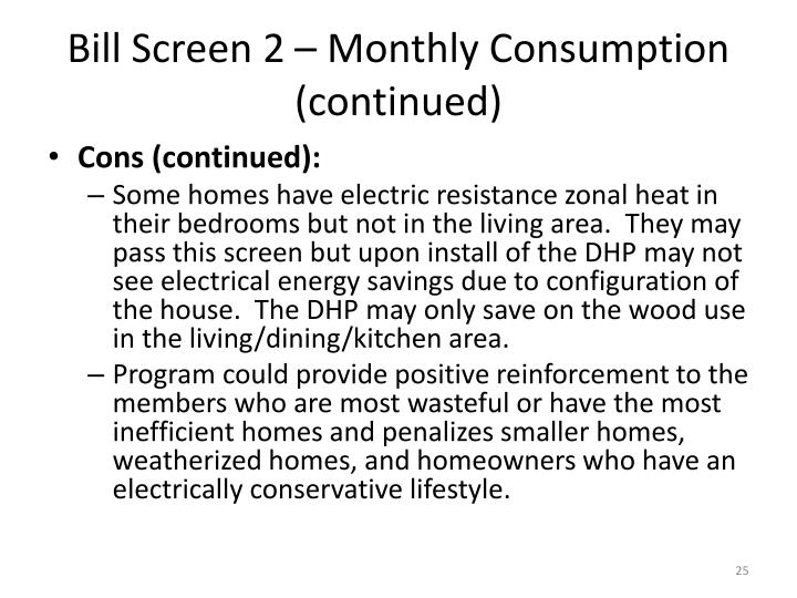 Bill Screen 2 – Monthly Consumption (continued)