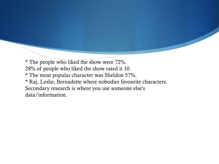 * The people who liked the show were 72%.