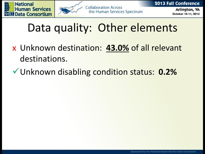 Data quality:  Other elements