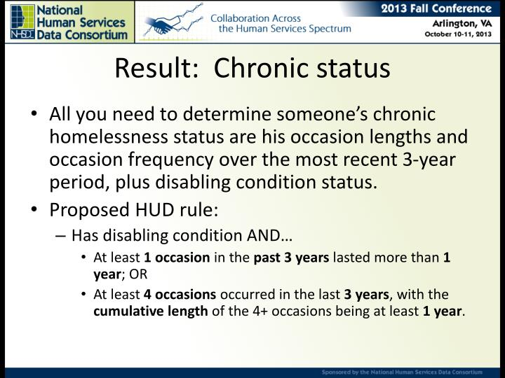 Result:  Chronic status
