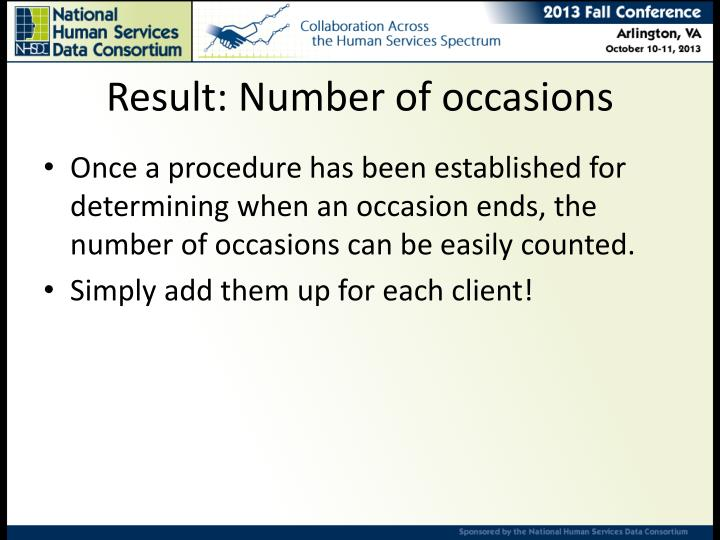 Result: Number of occasions