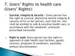 7 users rights to health care users rights