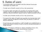 9 duties of users