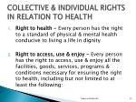 collective individual rights in relation to health