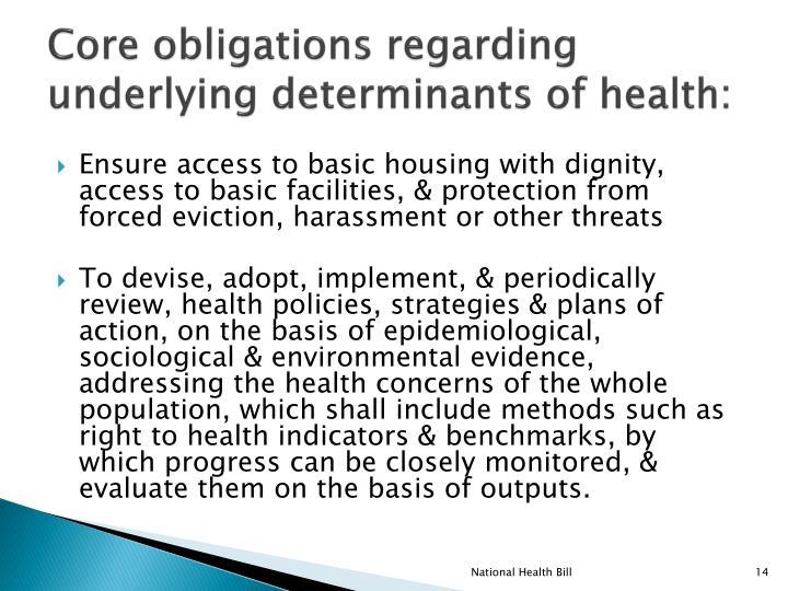 Core obligations regarding underlying determinants of health:
