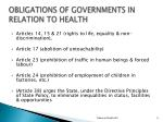 o bligations of governments in relation to health