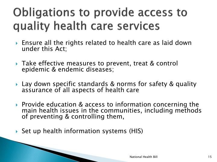 Obligations to provide access to quality health care