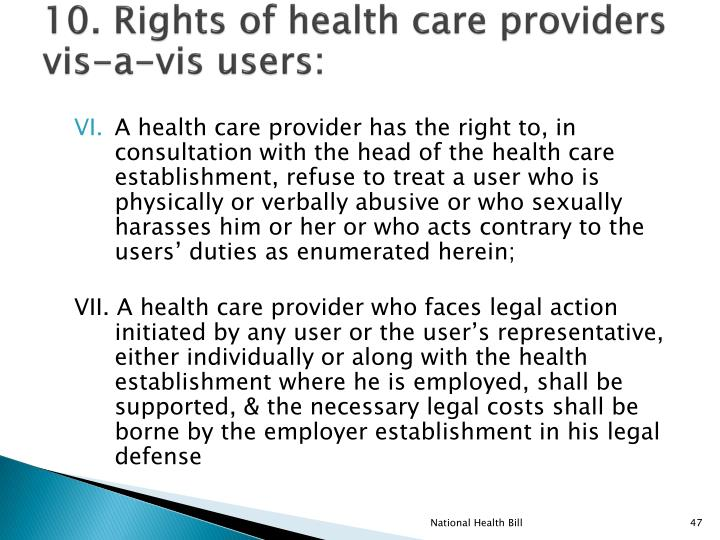 10. Rights of health care providers