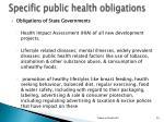 specific public health obligations3