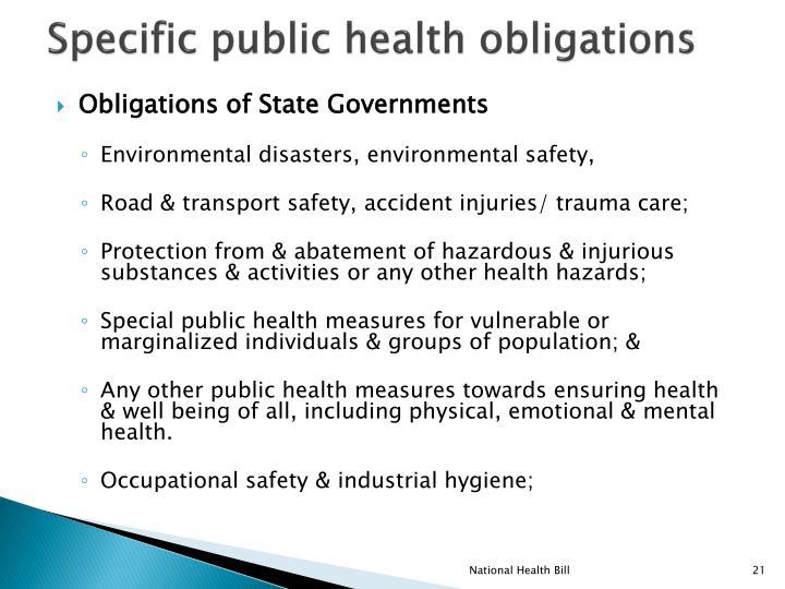 Specific public health obligations