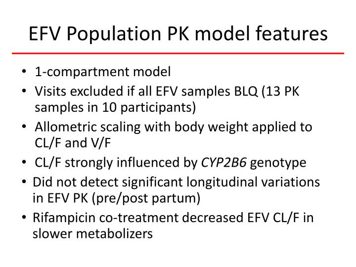 EFV Population PK model features