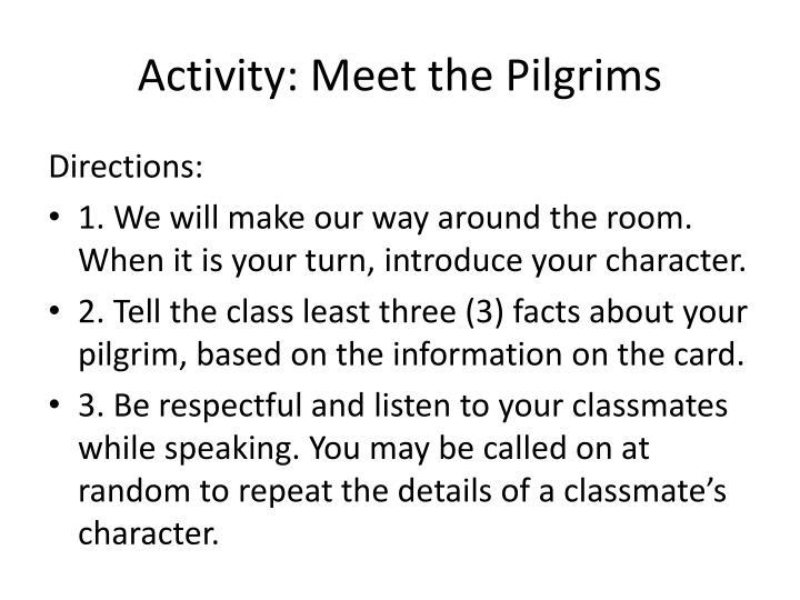 Activity: Meet the Pilgrims
