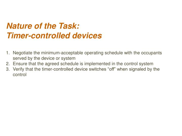 Nature of the Task:
