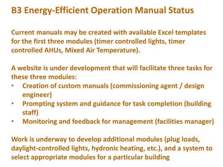 B3 Energy-Efficient Operation Manual