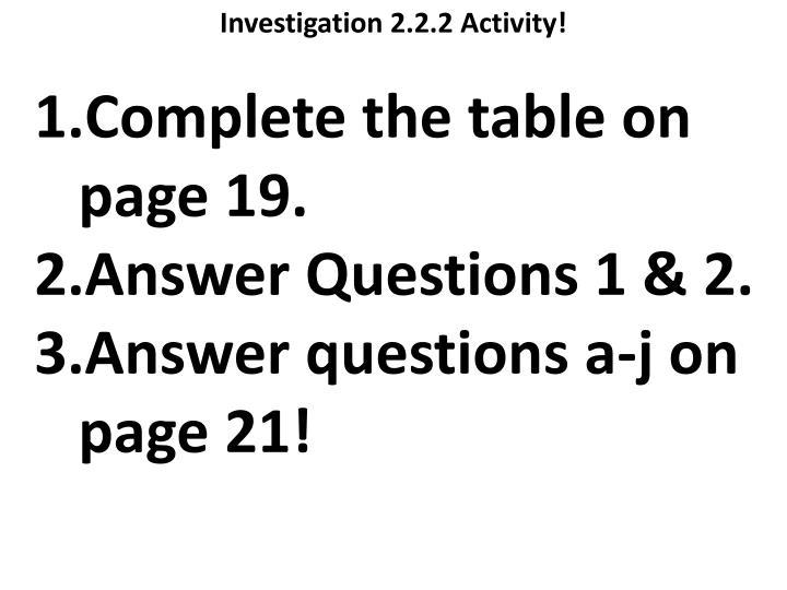 Investigation 2.2.2 Activity!