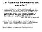 can happiness be measured and modelled