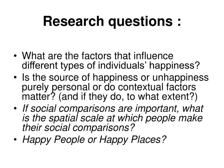Research questions :