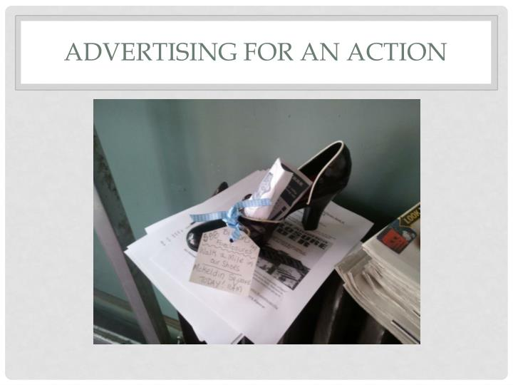 Advertising for An Action