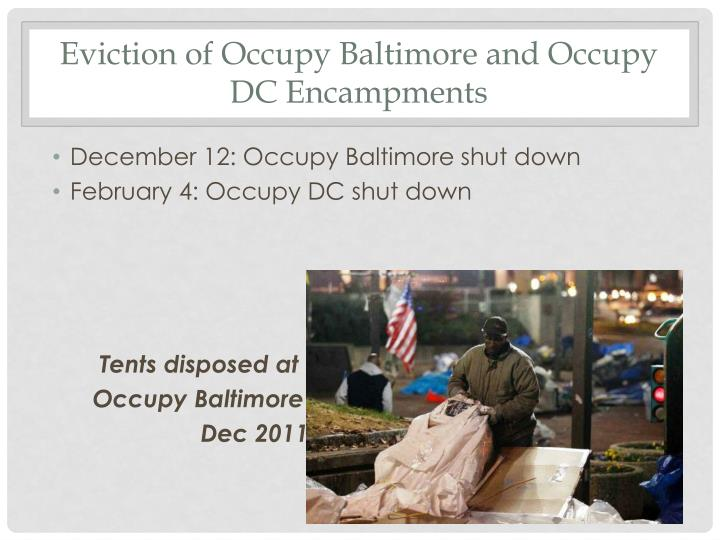 Eviction of Occupy Baltimore and Occupy DC Encampments