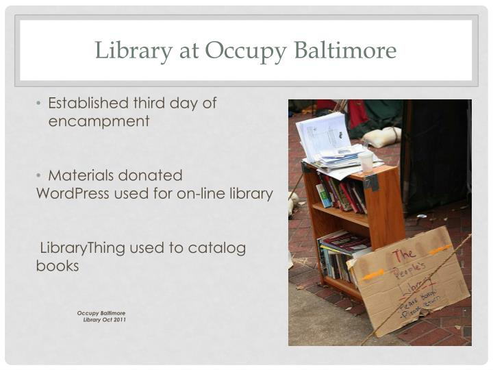 Library at Occupy Baltimore