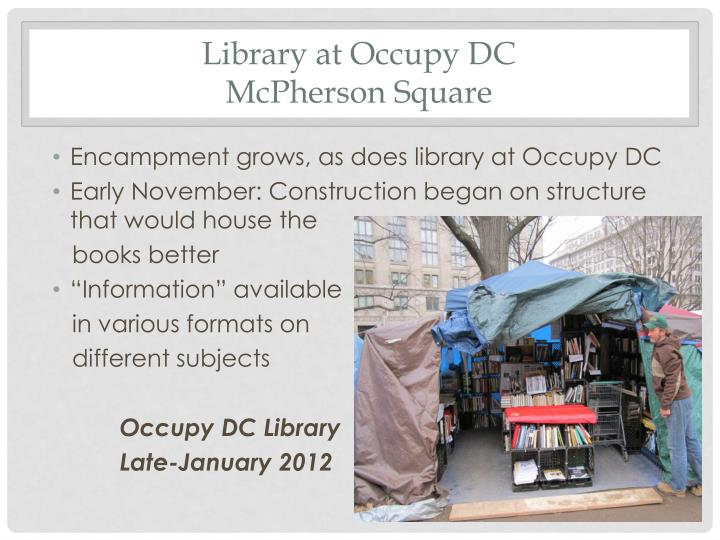 Library at Occupy DC